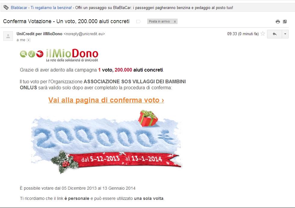 Unicredit vota per SOS Villaggi dei Bambini via email conferma