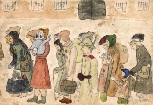 Disegno di Holga Weissova, bambina sopravvissuta a Terezin (da proformamemoria.it)