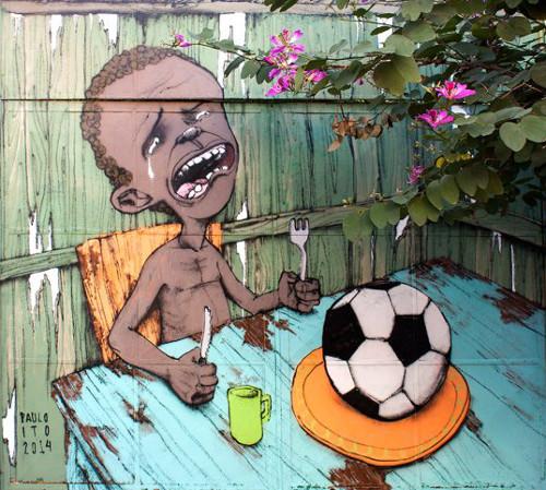 graffiti contro i mondiali di calcio 2014